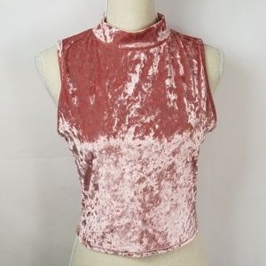 Caution to the Wind Pink Velvet Top Size Large